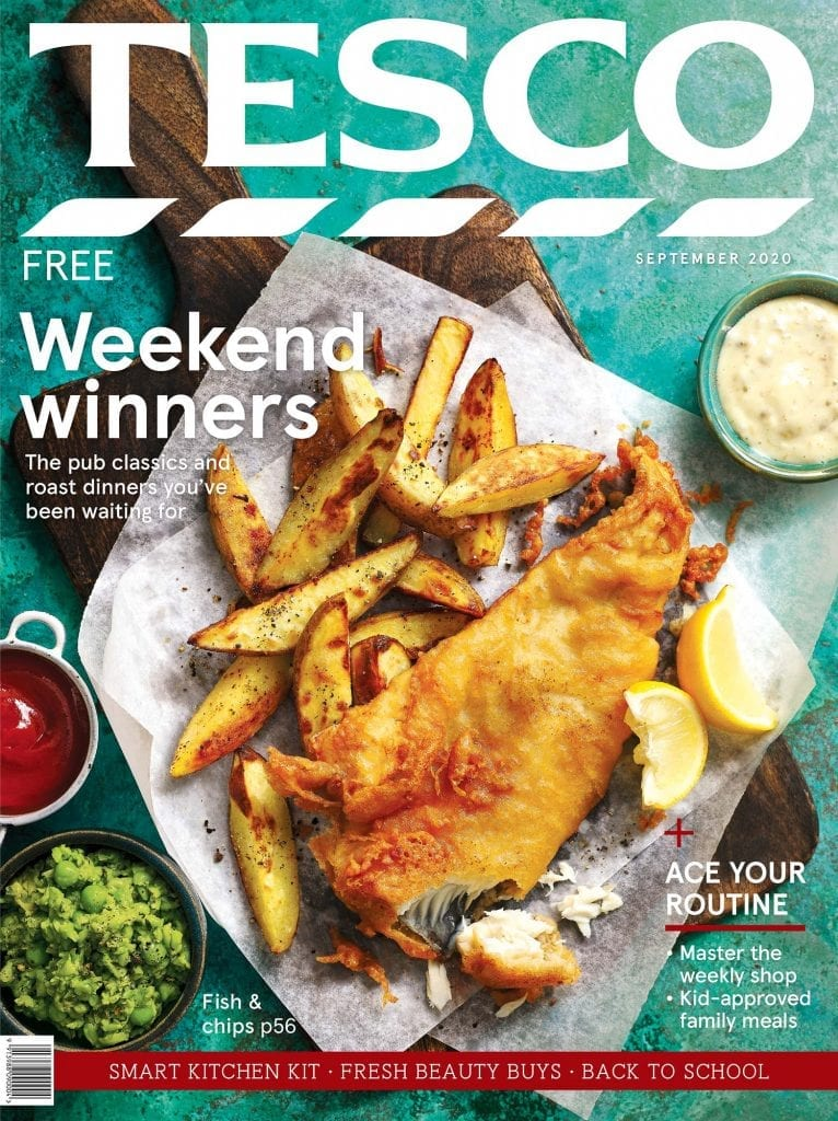 Tesco magazine september 2020 cover fish and chips