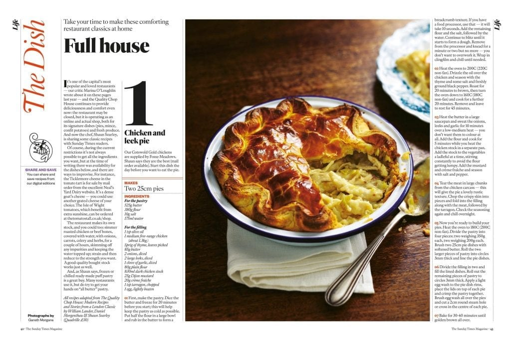 food studio photography The Quality Chop House recipes The Sunday Times The Dish magazine