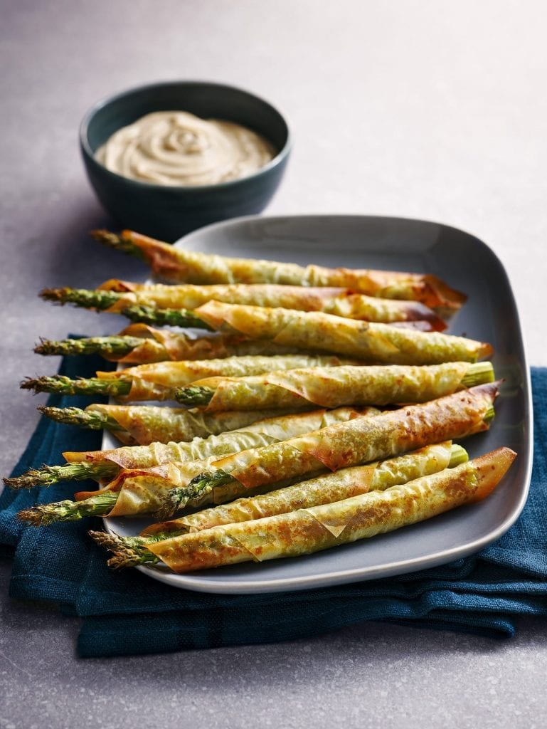 food photography london filo wrapped asparagus spears