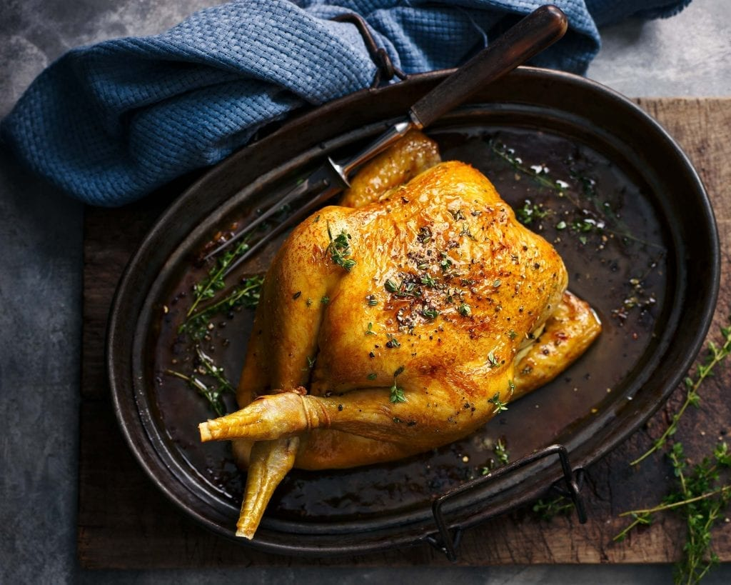 maple glazed roast chicken photographed for co op magazine