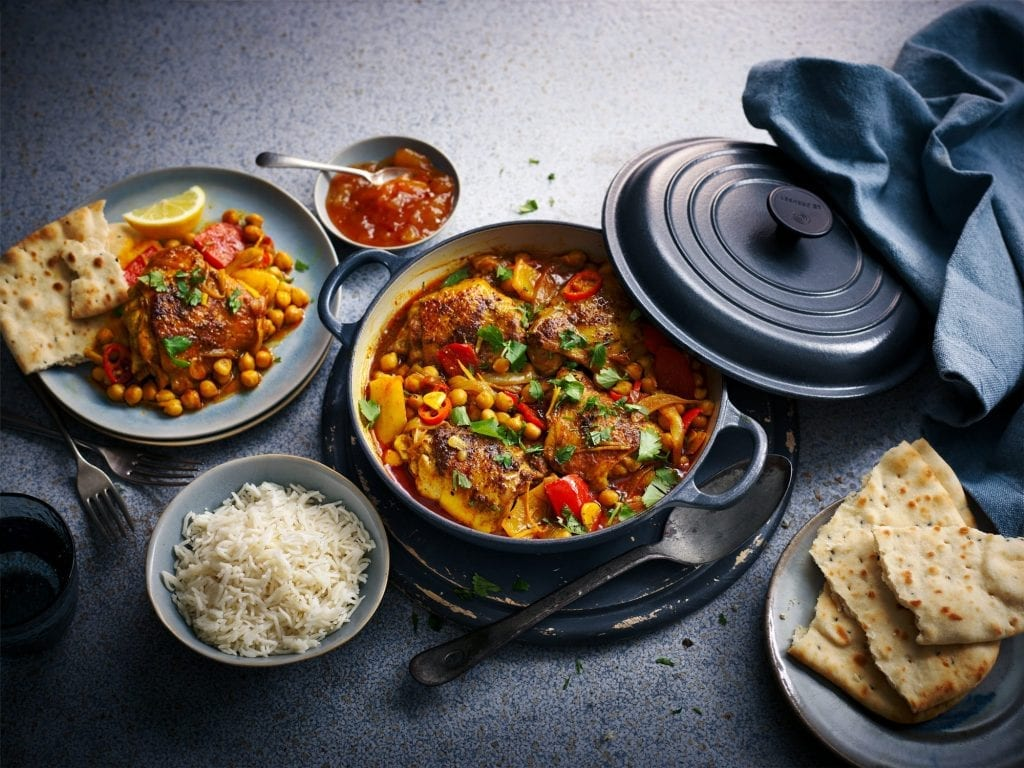 food photography london spiced chicken chick pea curry