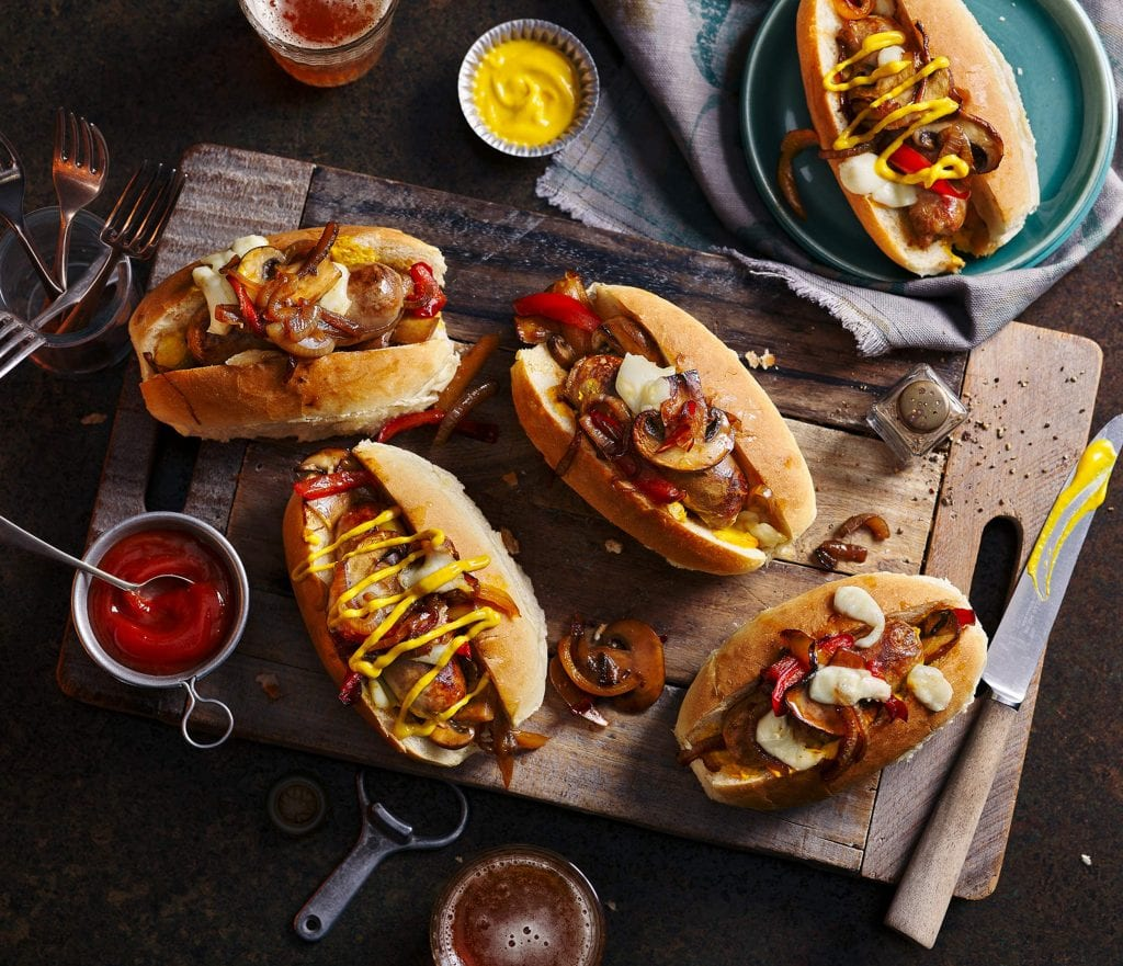 co op southern counties philly cheese hot dogs tomato ketchup mustard and beer drinks