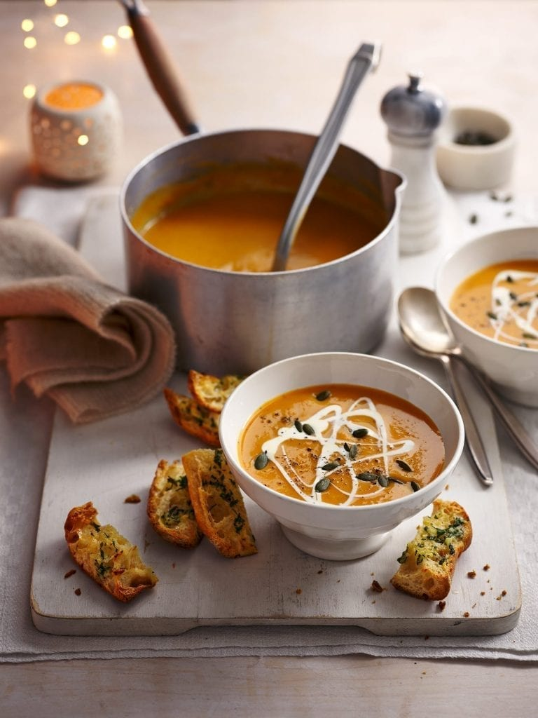 Sweet Potato Soup with Cheesy Garlic Bread