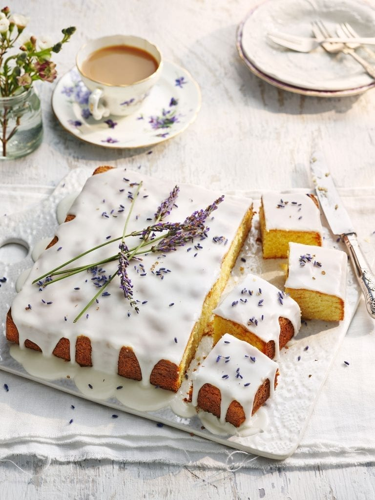 lavender almond sheet cake for delicious magazine july 2020