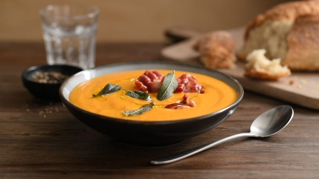 food photographers video of pumpkin soup with bacon & sage