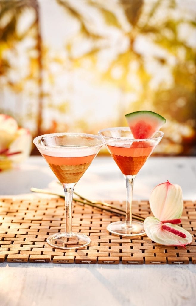 South East Asia themed drink of Watermelon Lemongrass Martini cocktail