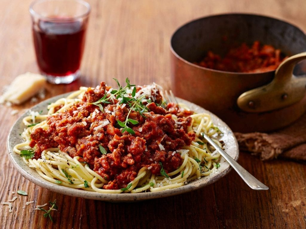 spaghetti bolognese red wine parmesan cheese marks and spencers