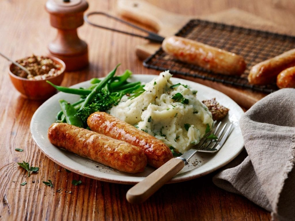 sausages mash green vegetables mustard marks and spencers packaging