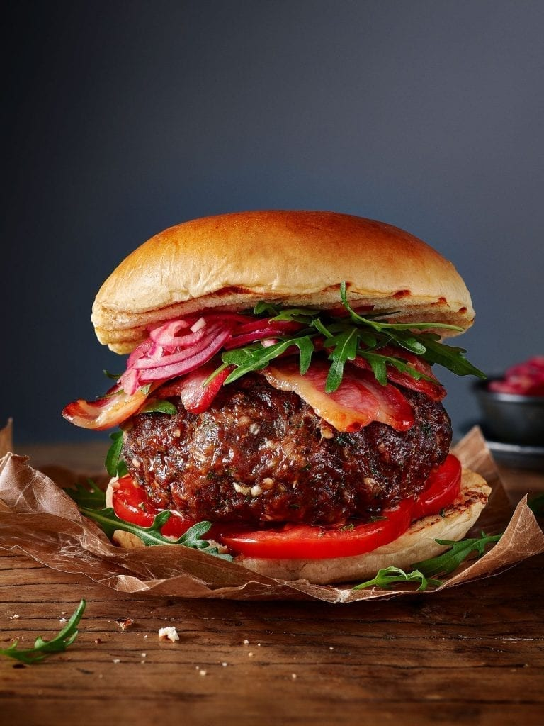 marks & spencers make your own burger spice herb blend rocket tomato