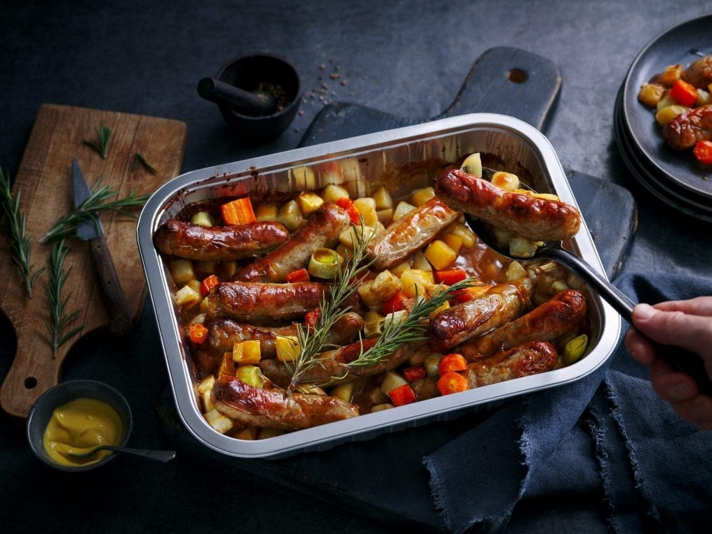 marks and spencers cook with range tray bakes sausages root vegetables