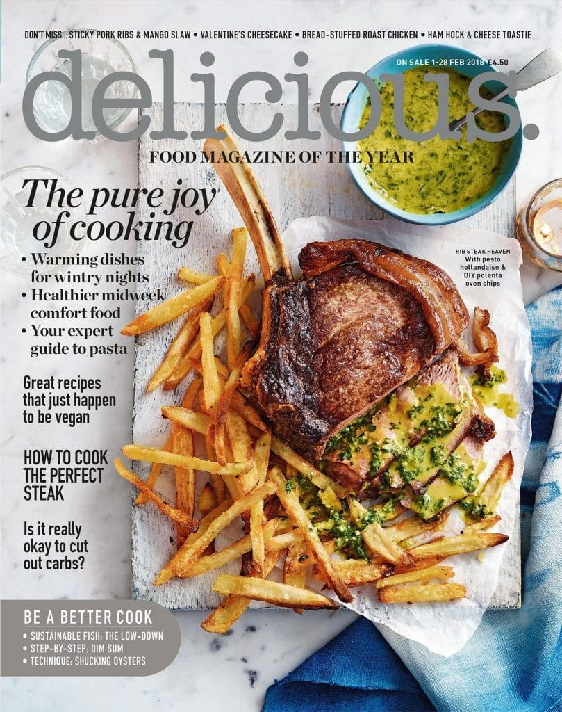 delicious magazine Rib Steak Pesto Hollandaise Polenta Oven Chips