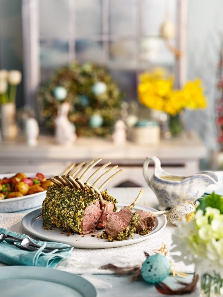 Good housekeeping Easter Menu Lamb Guard Of Honour Salsa Verde Crust & Mint Gravy