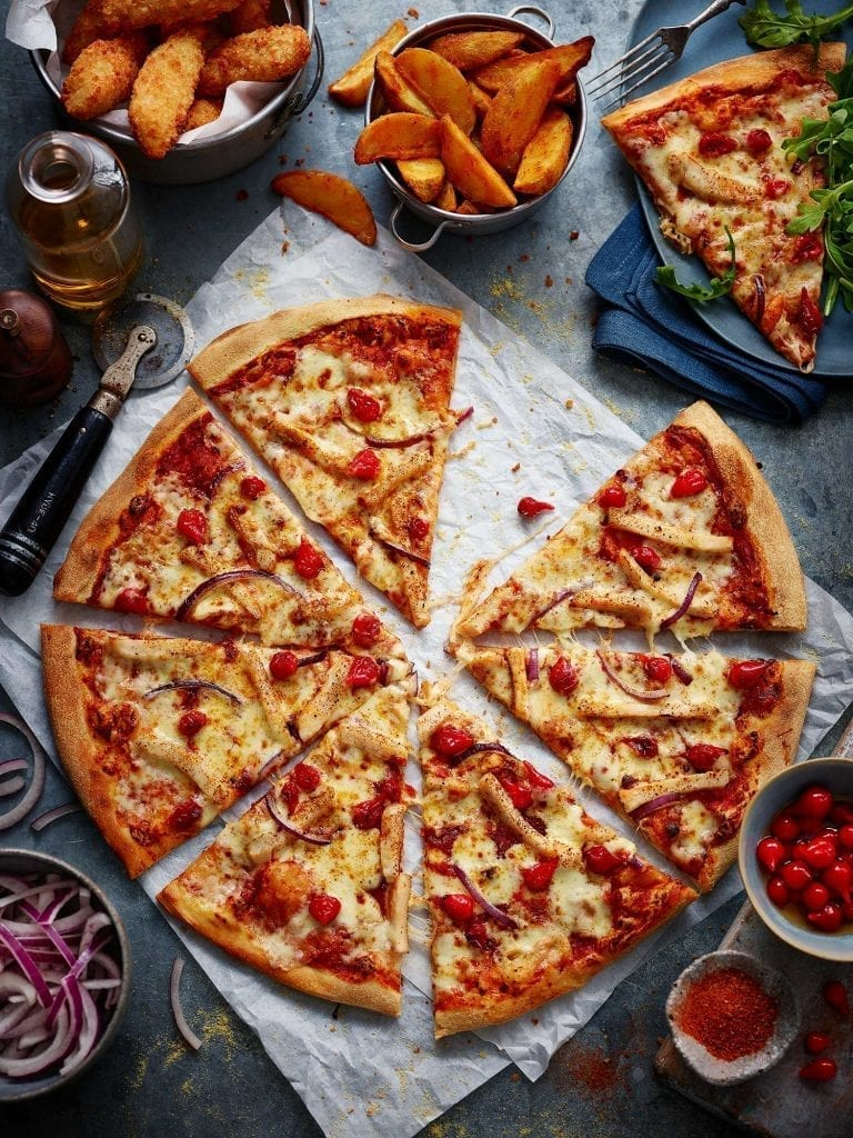 dominoes pizza ingredients onions and fries