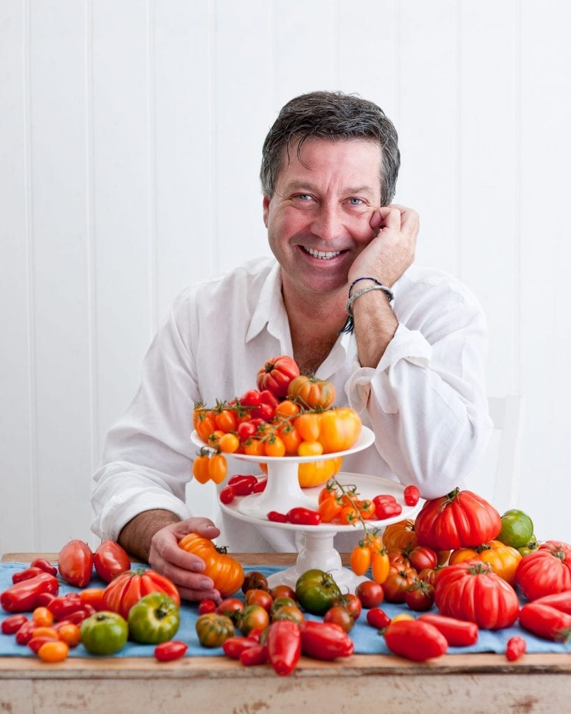 John Torode Portrait with a selection of tomatoes