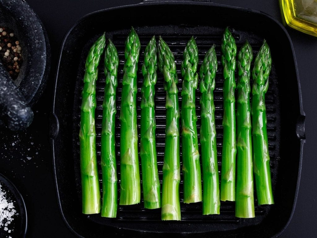 Personal shot of griddled asparagus.