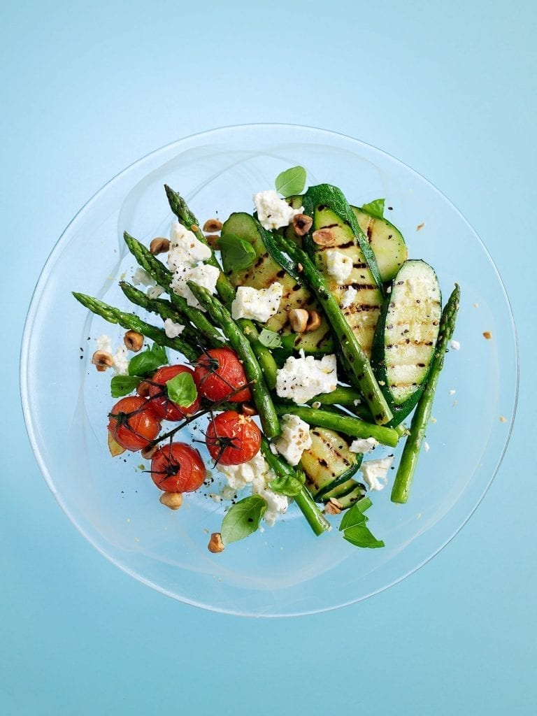 A grilled courgette salad with tomatoes and asparagus