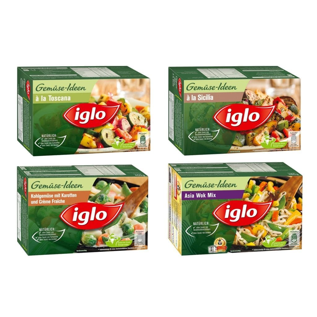 Iglo vegetable mix packaging