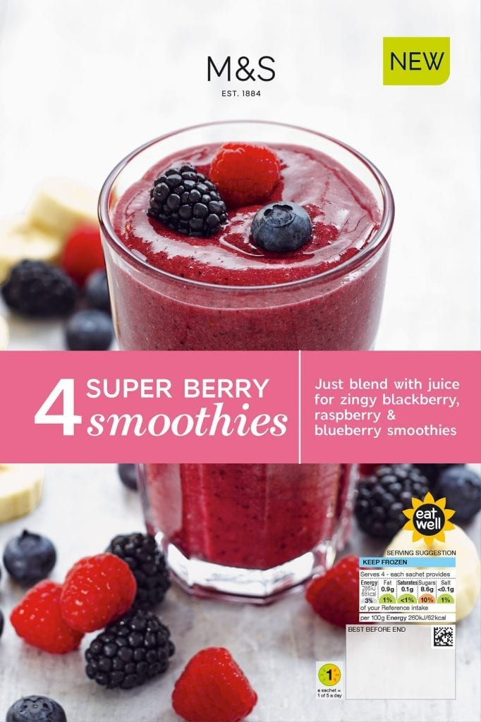 Super berry smoothie shot for Marks and Spencer