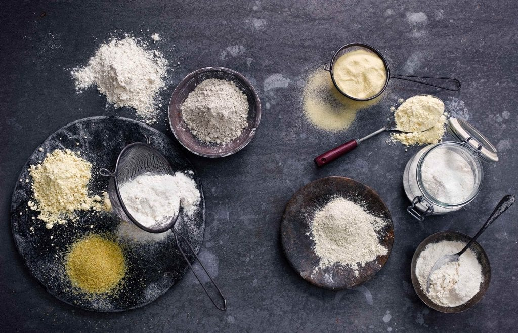 Selection of different flour. Shot for the book Indian Cookery Course by Kyle Books.