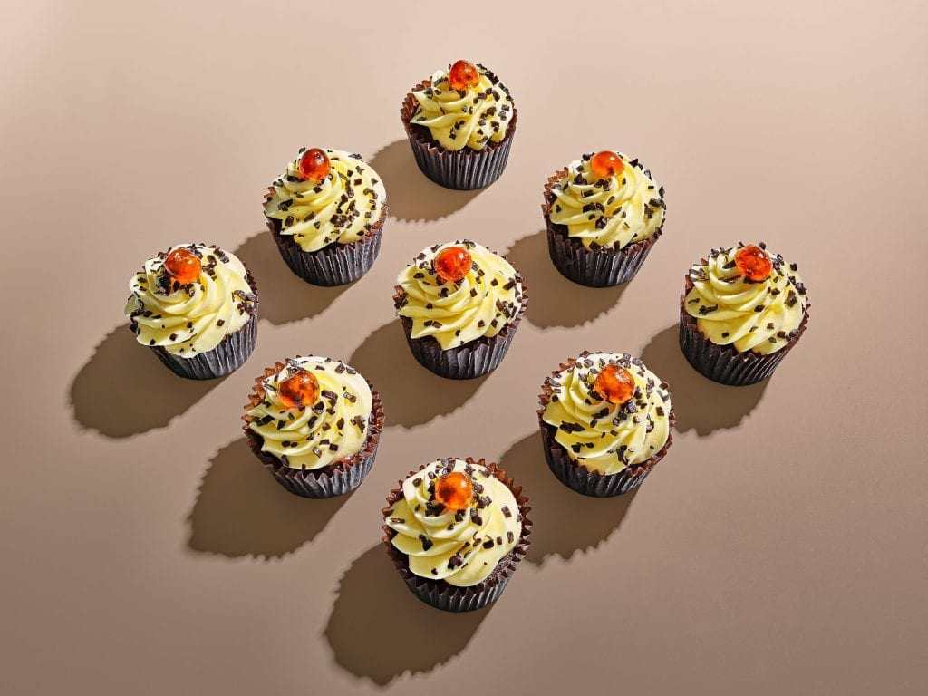 tesco cupcakes butterscotch with chocolate sprinkles and cherry