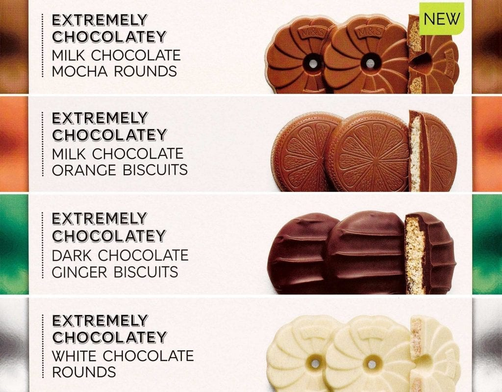 Milk chocolate mocha, milk chocolate orange, dark chocolate ginger and white chocolate rounds extremely chocolatey biscuits