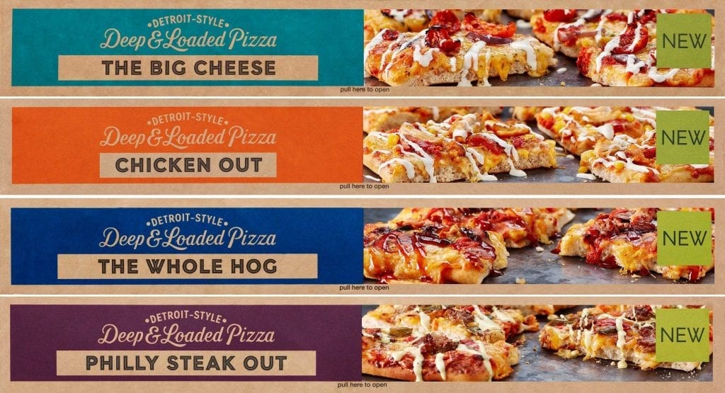 The big cheese, chicken out, the whole hog, Philly steak out Detroit style pizza. Deep and loaded pizza packaging shot for Marks and Spencer.