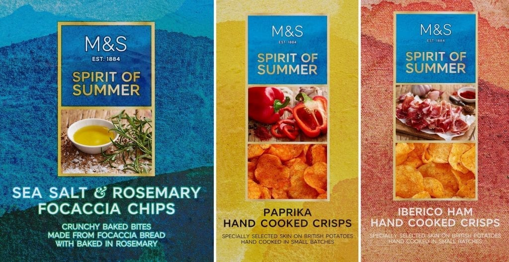 Salt focaccia chips, paprika and Iberico ham crisps packaging