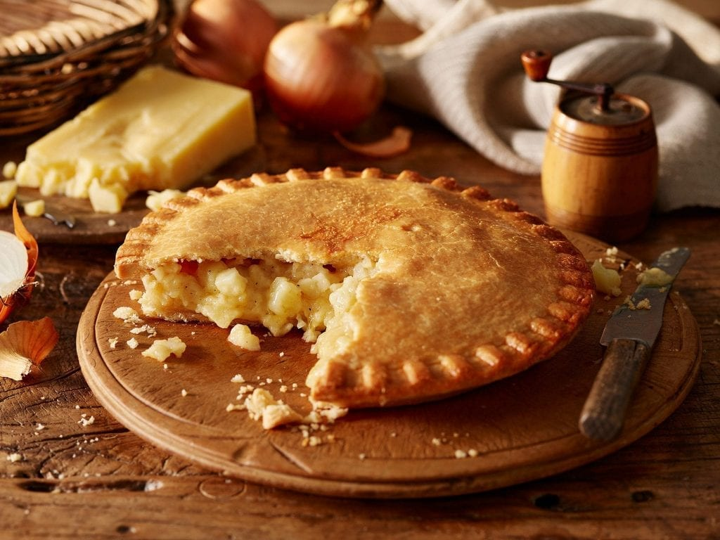 Cheese and onion shortcrust pastry pie for m&s packaging