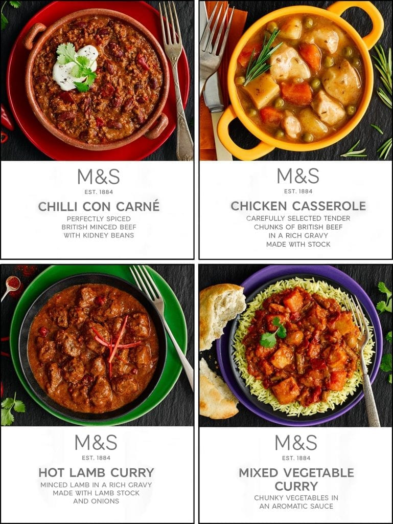 Chilli con carne, chicken casserole, hot lamb curry and mixed vegetable curry packaging