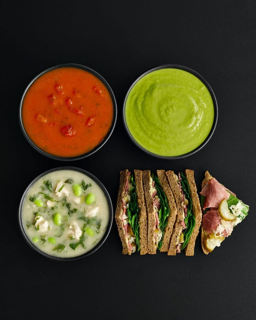 M&S cafe Soup selection with sandwiches