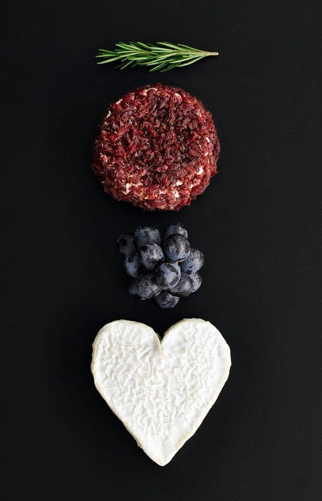 M&S Brillat Savarin with cranberries, grapes and a heart-shaped brie portion