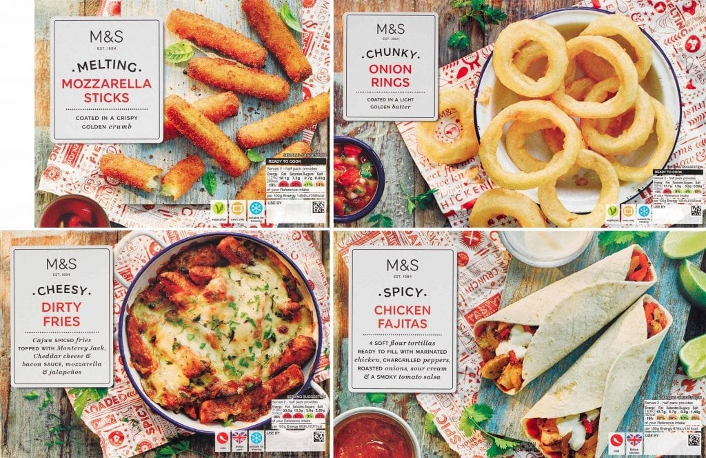 American Snacking range of mozzarella sticks, onion rings, dirty fries and chicken fajitas. Shot for Marks and Spencer.