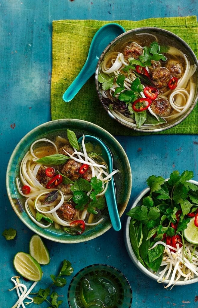 Asian meatball pho for Ocado Magazine