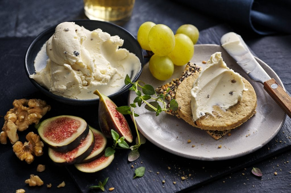 marks and spencers luxury truffle soft cheese on biscuits with grapes and figs