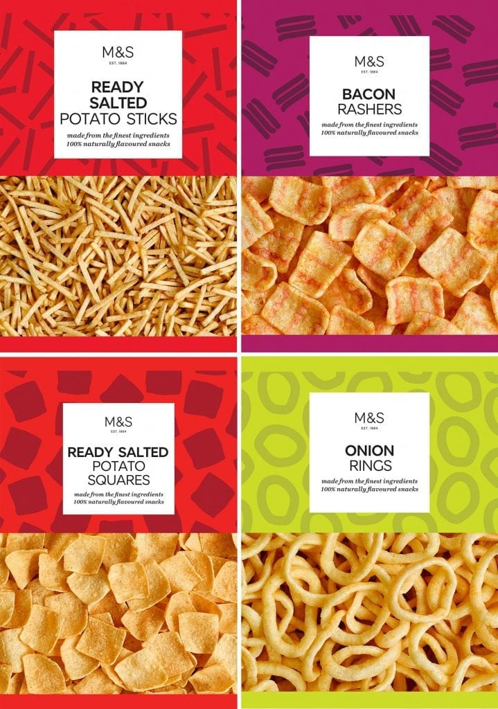 Potato sticks, bacon rasher, potato squares, onion rings packaging for Marks and Spencer