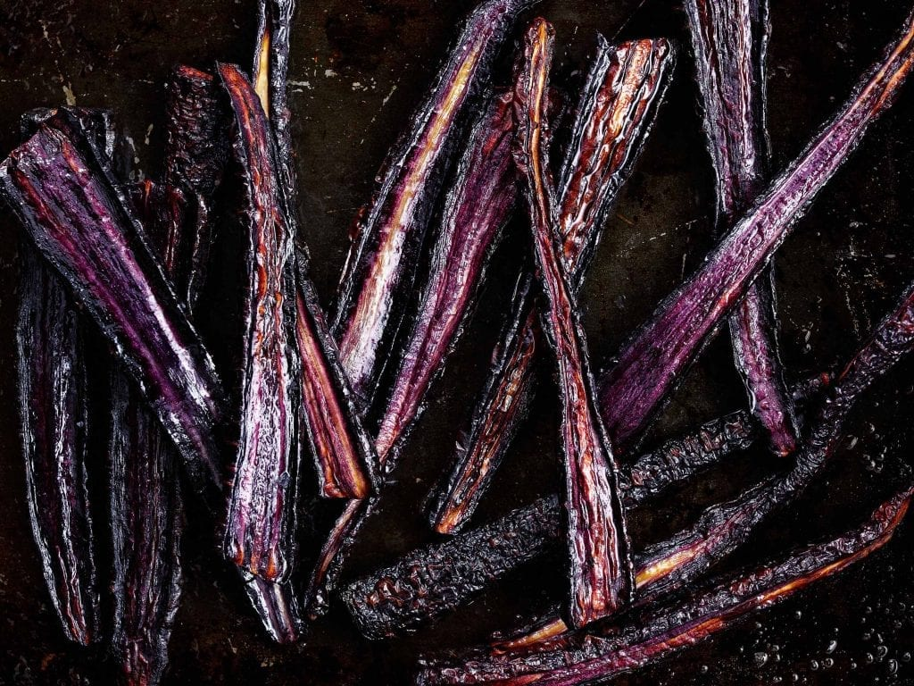 Personal shot of roasted black carrots