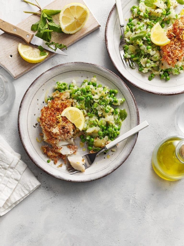 sainsbury's magazine april 2021 bacon crumbed cod fillets with mushy peas