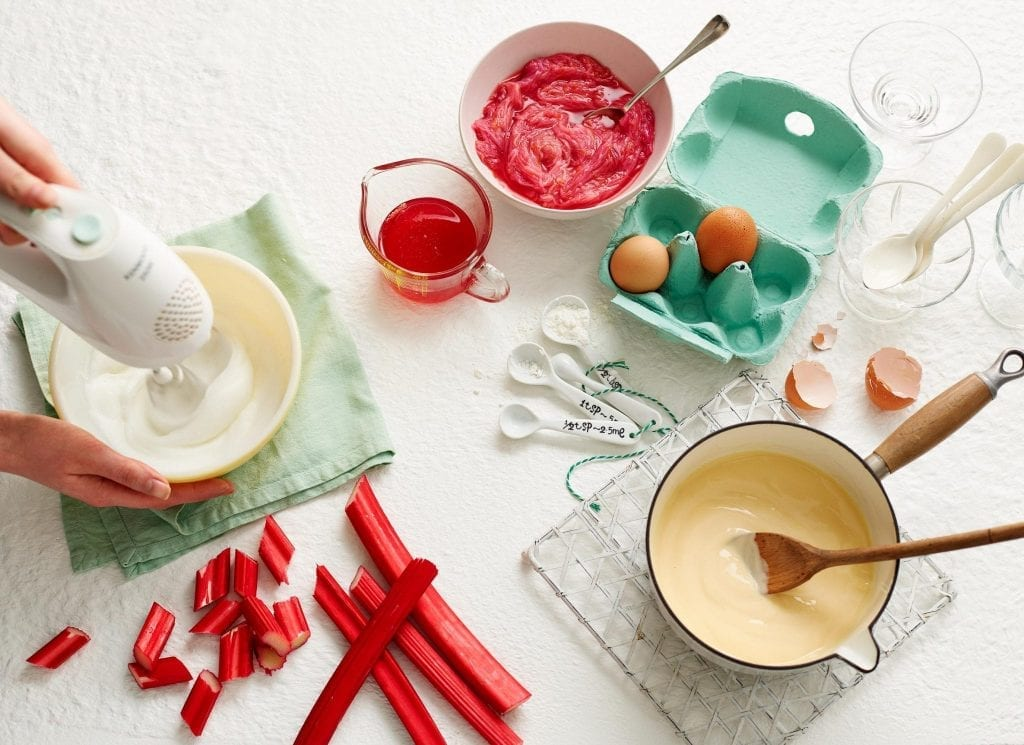 Whisking cream with rhubarb