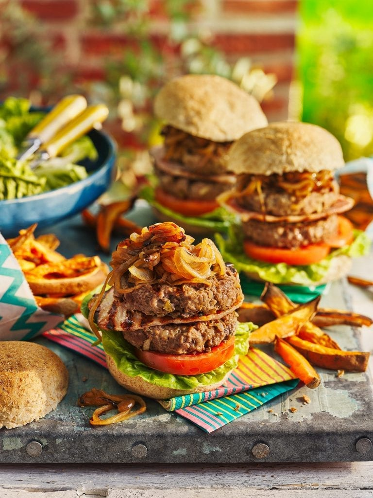 slimming world magazine august 2021 bbq double stacked bacon burgers with sticky onions and sweet potato fries