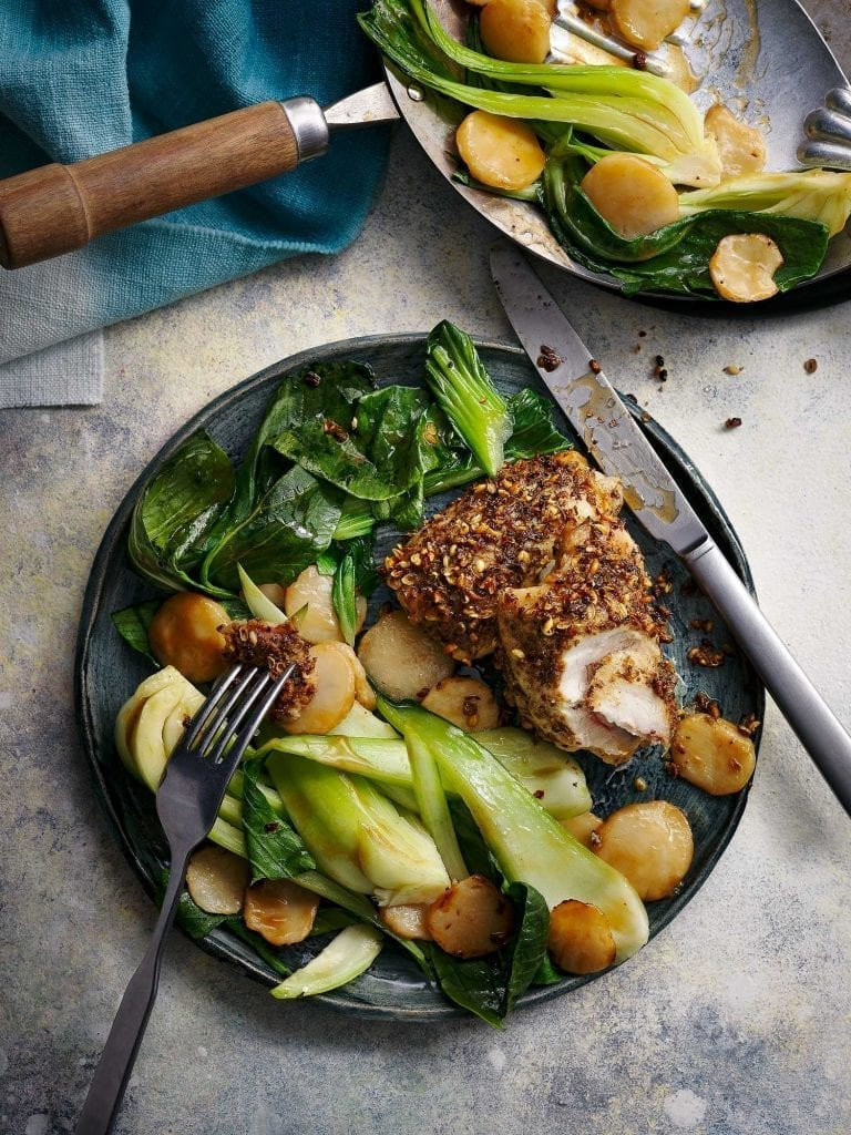 slimming world recipe sichuan baked chicken with pak choi on a plate sliced into