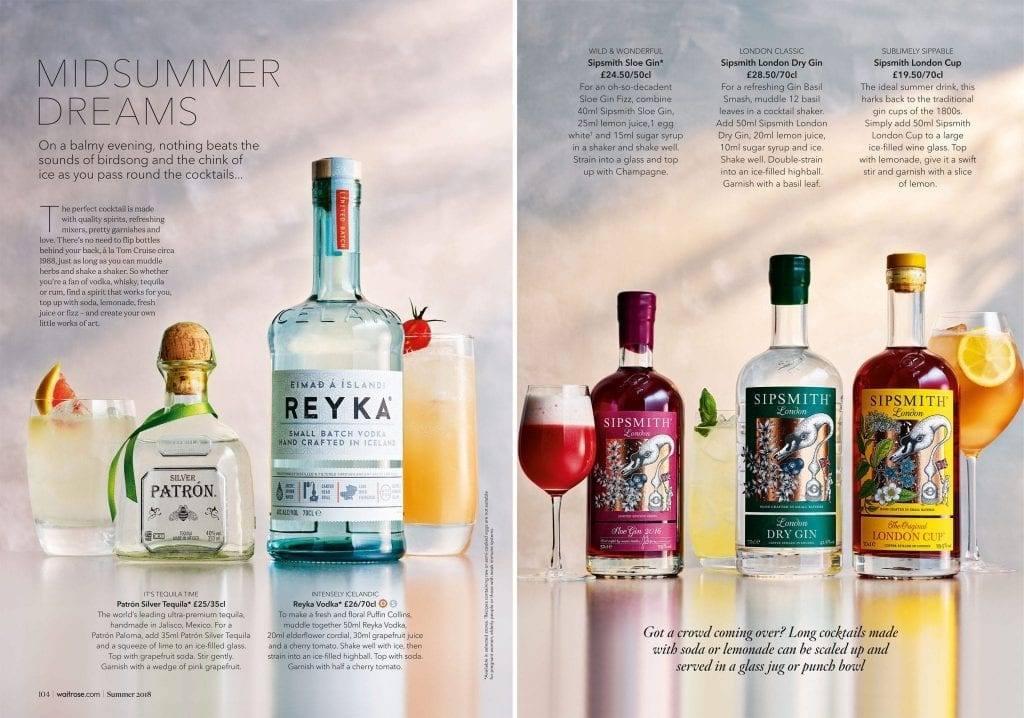 Waitrose Summer Drinks 2018 various cocktails in glasses with bottles
