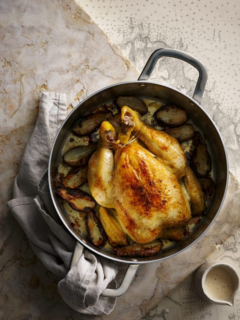 food photographer sunday times the dish merlin Labran Johnson Roast Chicken Brown Bread Sauce Jerusalem Artichokes
