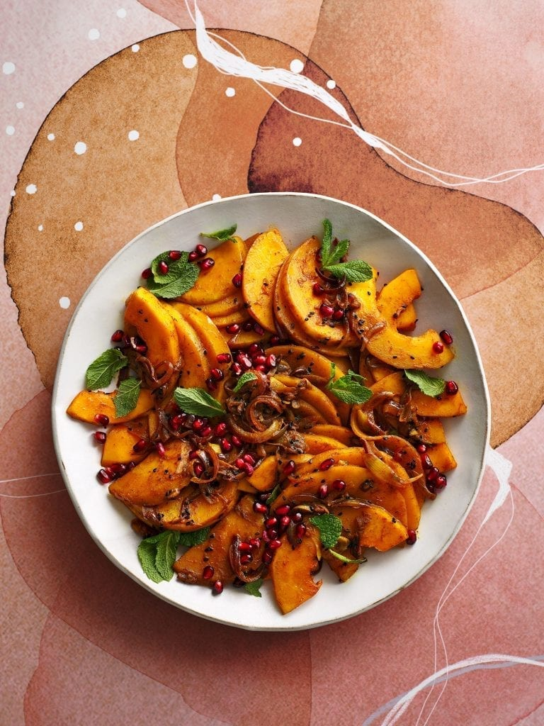 Romy Gills butternut squash pomegranate molasses sandi recipe photographed for the sunday times