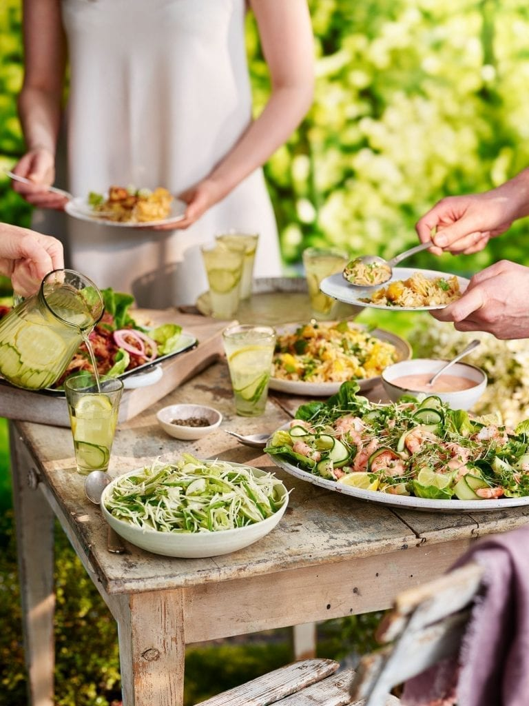 summer garden party salads with people tesco magazine