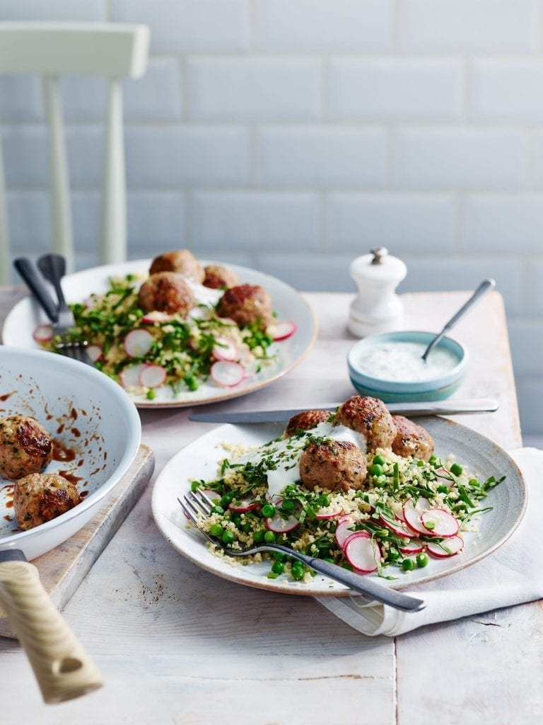 Meatballs served with couscous, editorial shoot for Tesco Magazine.