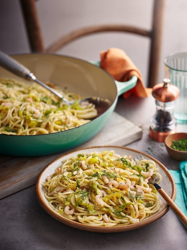 brown butter prawn pasta photographed for tesco magazine