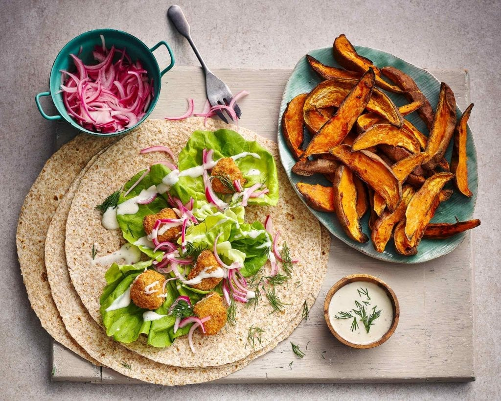 crispy chicken wraps with sweet potato friend red onion slices for tesco magazine