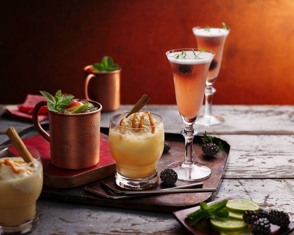 harvest mimosas apple moscow mule caramel cider floats drinks photographed for tesco magazine