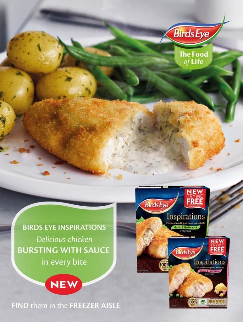 Birdseye Breaded chicken with garlic and herb sauce advert to go in Tesco Magazine
