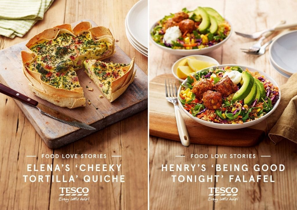 Tesco Food Love Stories Campaign showing Elena's cheeky tortilla quiche and Henry's being good tonight falafel. These were shot for recipe cards.